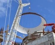 Установлен второй ярус купольной части наружной защитной оболочки энергоблока №2 Нововоронежской АЭС-2