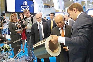 Sergei Kiriyenko and Yukiya Amano visit Atomexpo 2013 in Saint Petersburg<br />